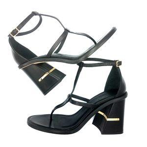 Tibi | Chloe Seta Calf Black Block Heel Sandal 36